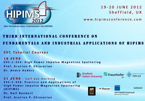 Society of Vacuum Coaters - Int'l HIPIMS Conference, UK